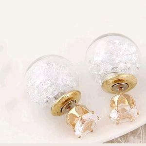 Glass ball double side earrings
